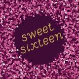 Bright magenta pink glitter texture whith glittering text sweet sixteen. Vector illustration royalty free illustration