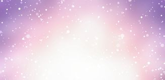 Bright magenta pink winter blur background with falling snow. Stock Photos