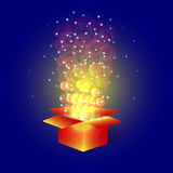 Bright magic  box with stars. Royalty Free Stock Images