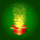 Bright magic  box with stars. Bright magic box with stars.Box with surprise for holidays with glitter and confetti Royalty Free Stock Image