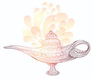 Bright magic lamp. With pattern vector illustration