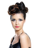 Bright make-up and hairstyle for woman. Portrait of beautiful woman with bright make-up and fashion hairstyle stock photos