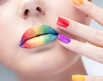Bright make-up and manicure royalty free stock photography