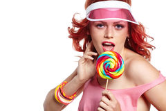 Bright makeup. Beauty Girl Portrait holding Colorful lollipop. Stock Photography