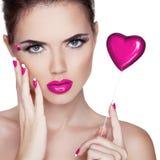 Bright Makeup. Beauty Portrait. Beautiful Woman Touching Her Fa Stock Photo