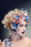 Bright makeup of the butterfly Stock Image
