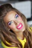 Bright  makeup. Girl broadly smiling, bright makeup Royalty Free Stock Photo