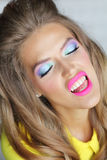 Bright  makeup. Girl corrects makeup with her hands Stock Photography