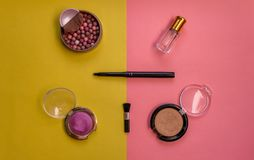 bright makeup kit, female set royalty free stock photography
