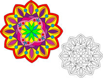 Bright Mandala - 1. A brightly-colored mandala with a non-colored one for your own colors. Easily editable Stock Illustration