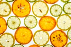 Bright mandarin, lemon and lime slices on white. Bright mandarin, lemon and lime slices. Juicy transparent fruit on white Royalty Free Stock Photography