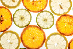 Bright mandarin, lemon and lime slices on white Royalty Free Stock Image