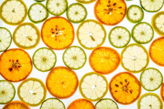 Bright mandarin, lemon and lime slices on white Stock Photography