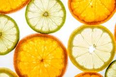 Bright mandarin, lemon and lime slices on white Stock Images