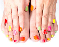 Bright manicure and pedicure Stock Photos