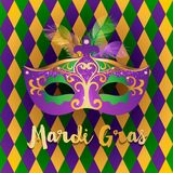 Bright Mardi Gras background. Bright carnival mask with feathers over rhombus background. Concept design for poster, greeting card, party invitation, banner or Royalty Free Stock Photos