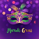 Bright Mardi Gras background. Bright carnival background with mask. Concept design for poster, greeting card, party invitation, banner or flyer. Vector Royalty Free Stock Images