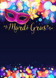 Bright Mardi Gras poster template with bokeh. Bright vector Mardi Gras poster template with bokeh effect lights and pink carnival mask