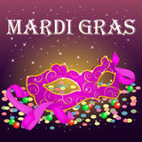 Bright Mardi Gras Poster template with carnival mask, confetti and beads .. Holiday poster or placard template in simple cartoon style. Vector illustration Royalty Free Stock Photos