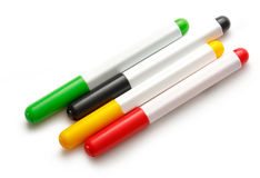Bright markers on white Stock Photos