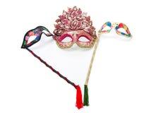 Bright masquerade masks. Image shoeing brightly coloured masquerade masks royalty free stock photo