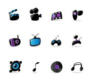 Bright media, game and music icons Stock Photo