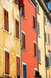 Bright Mediterranean buildings. Old bright Mediterranean Croatian building facades Royalty Free Stock Images