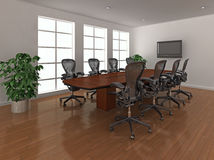 Bright meeting room interior. High quality 3d illustration of a bright, modern meeting room, or boardroom