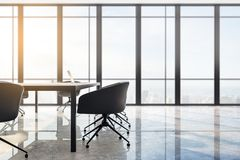 Bright meeting room. Interior with panoramic city view, furniture, laptop on desktop and daylight. Toned image. 3D Rendering royalty free illustration