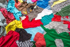 Bright messy colorful clothing Stock Photos