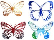 Bright metal butterfly isolated on white Stock Photos