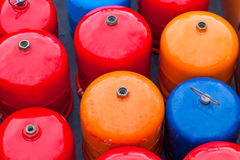 Bright metal gas bottles Stock Photography