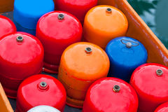 Bright metal gas bottles Stock Images