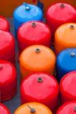 Bright metal gas bottles Stock Photo