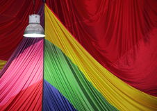 Bright Metal Lamp Light with Parachute Fabric in Background Royalty Free Stock Image