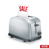 Bright Metal toaster with message SALE. Vector Stock Photography