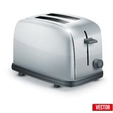 Bright Metal toaster. Vector isolated on white. Royalty Free Stock Photo