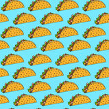 Bright mexican fastfood seamless pattern with tacos on blue background. Nice spanish fast food texture for textile, wallpaper, background, cover, banner, bar Stock Images