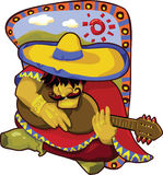 Bright Mexican man playing guitar Royalty Free Stock Image