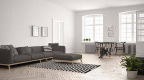 Bright minimalist living room with sofa and dining table, scandi Royalty Free Stock Image