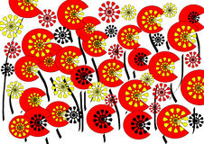Bright modern abstract floral design on white background. The bright modern abstract floral design on a white background with geometric and floral motif in red Royalty Free Illustration