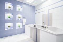 Bright modern bathroom with enormous bathtub Royalty Free Stock Images