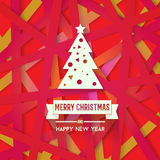 Bright modern Christmas greeting card with happy New year wish. Colorful background with red yellow pink color scheme for backgrounds, wallpapers, cd covers Royalty Free Stock Photography
