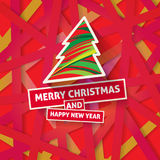 Bright modern Christmas greeting card with happy New year wish. Colorful background with red yellow pink color scheme for backgrounds, wallpapers, cd covers Royalty Free Stock Photos