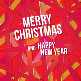 Bright modern Christmas greeting card with happy New year wish. Colorful background with red yellow pink color scheme for backgrounds, wallpapers, cd covers Royalty Free Stock Image