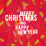 Bright modern Christmas greeting card with happy New year wish. Colorful background with red yellow pink color scheme for backgrounds, wallpapers, cd covers Stock Image