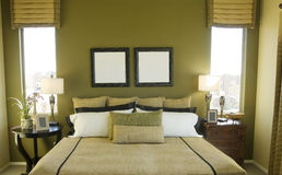 Bright Modern Clean Green Bedroom Stock Image