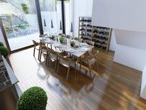 Bright modern dining room trend Stock Photo