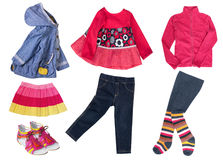 Bright modern fashion child girl clothes isolated. Royalty Free Stock Photos