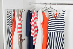 Bright modern fashion women's dresses Stock Image